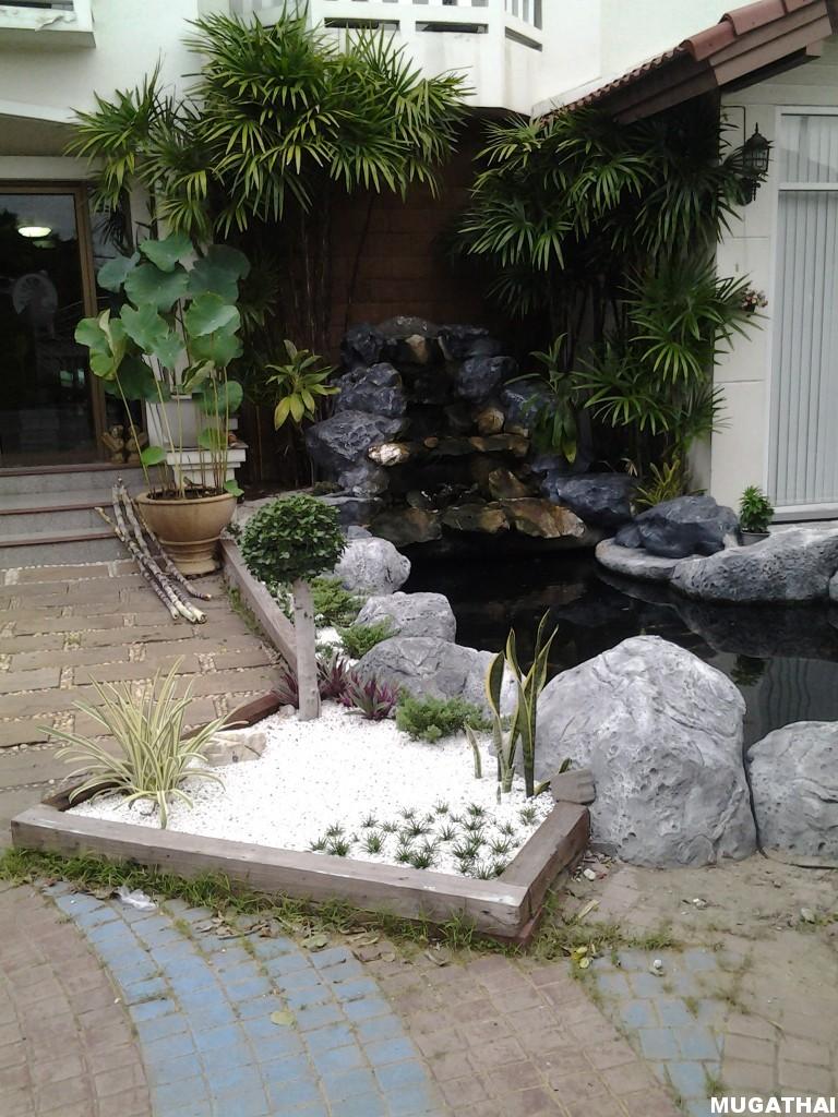 สวนหินรอบบ่อปลา